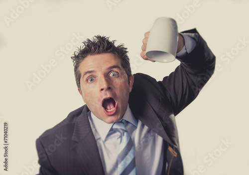 Fotografie, Obraz addict businessman and cup of coffee in caffeine addiction
