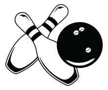 Bowling Ball With Two Pins - Graphic Style