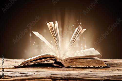 Fotografie, Obraz  Old book on wooden table
