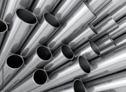 Fotografia  Aluminium Stahl Kupfer Rohre Profile aufsteigend