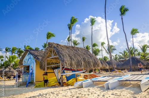 Kayaks, sailboats and catamarans for rent on Caribbean beach Fototapeta