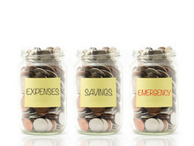 Jar With Expenses, Savings And Emergency Label.