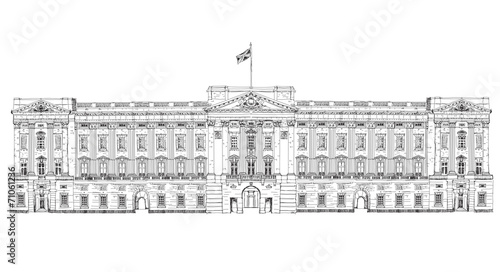 Photo Sketch offamous buildings. London, Buckingham palace