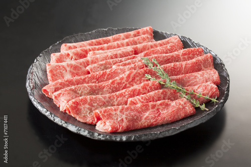Staande foto Vlees 松阪牛すき焼き肉