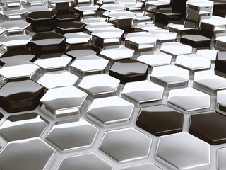 Plakat Modern abstract 3D architectural design hexagonal pattern