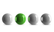 Green ball in row of white ones