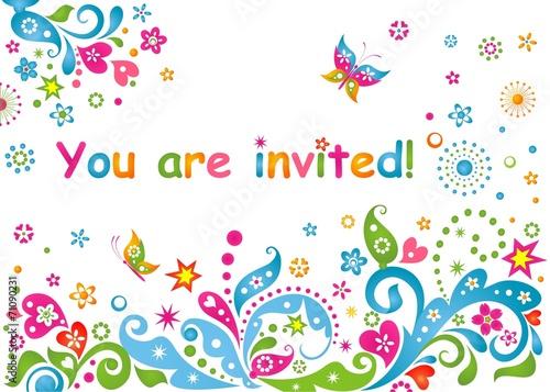 Photo  Funny colorful childish invitation