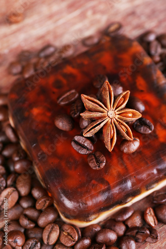 Fotografia, Obraz  Organic soap with coffee beans and spices on wooden background