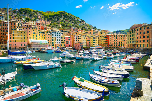 Fotografia  Camogli marina harbor, boats and typical colorful houses. Ligury