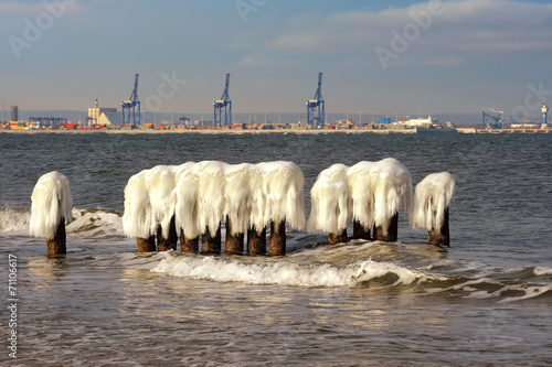 Fotobehang - Krajobraz Morski, morze, zima