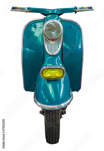 Foto op Canvas Scooter Isolated Blue Vintage Scooter