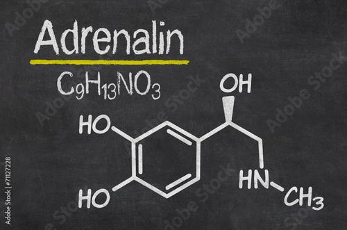Fotografie, Obraz  Schiefertafel mit der chemischen Formel von Adrealin