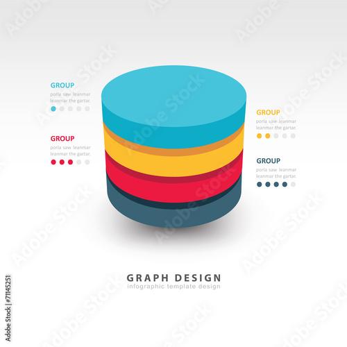 Cuadros en Lienzo Modern Infographics template cylinder vector