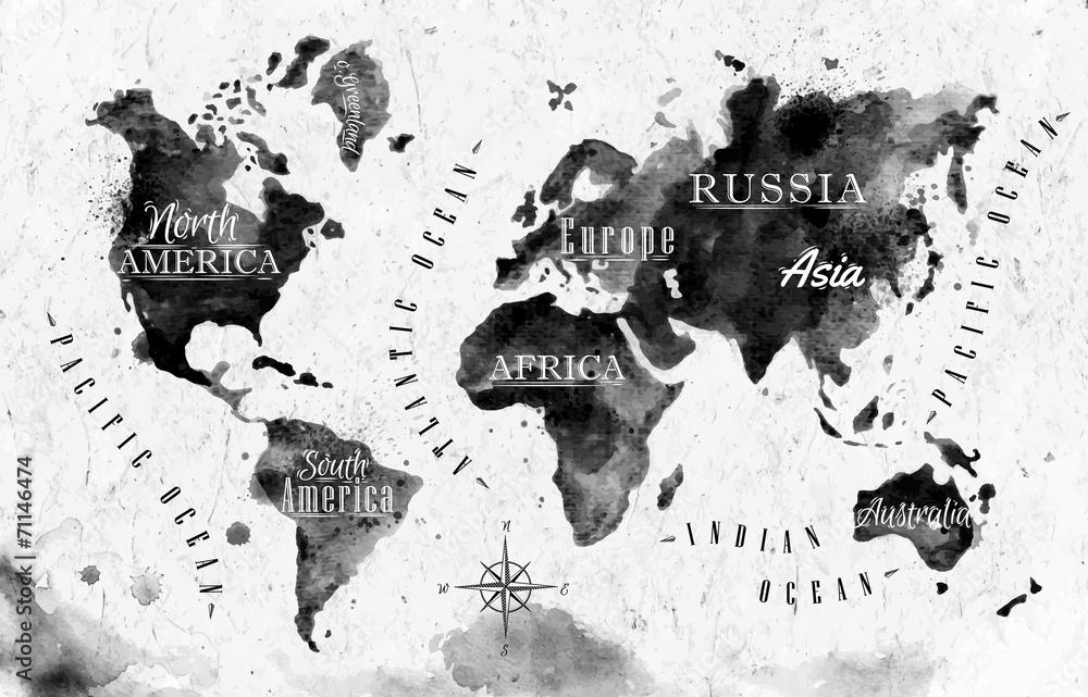 Fototapety, obrazy: Ink world map