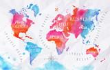 Mapa świata akwarela różowy niebieski