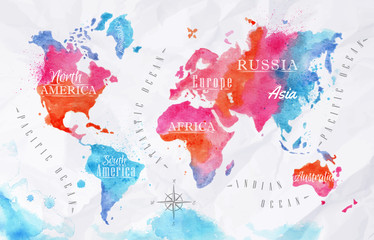 FototapetaWatercolor world map pink blue