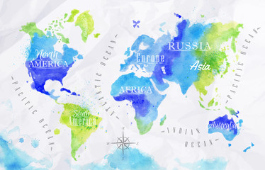 Panel Szklany Do biura Watercolor world map green blue