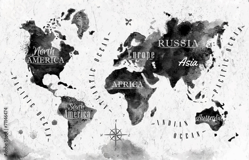 Photo sur Toile Carte du monde Ink world map