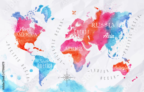 Foto auf Leinwand Weltkarte Watercolor world map pink blue