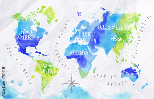 Watercolor world map green blue Poster