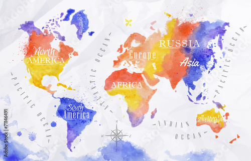 Watercolor world map red purple Poster