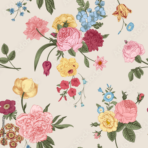 Juliste  Seamless vector pattern with Victorian bouquet.