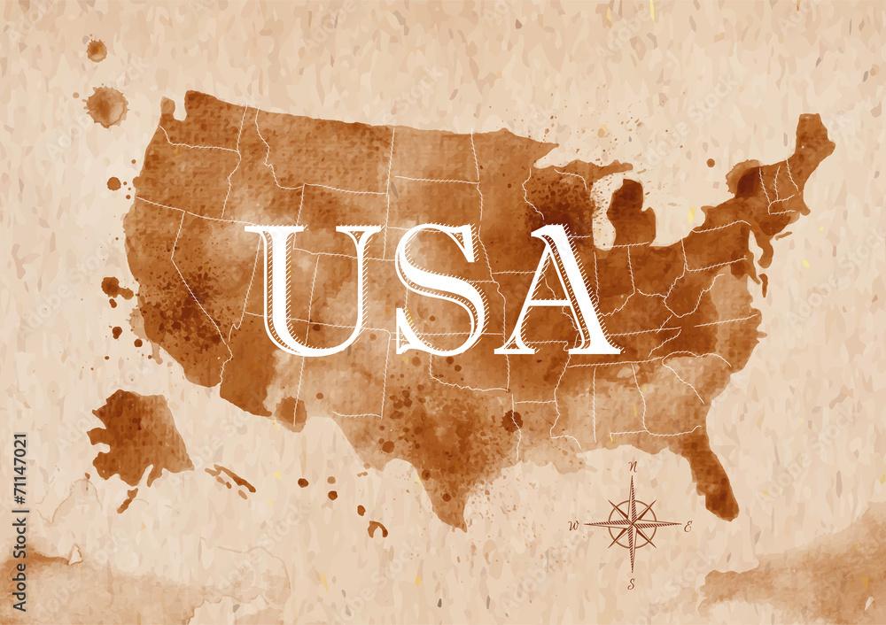 Fotografía Map United States retro