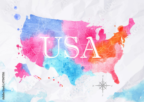 Obraz na plátně  Watercolor map United States pink blue