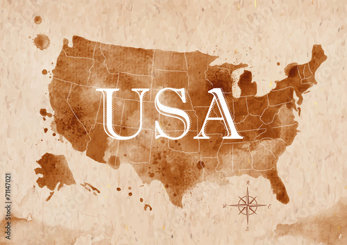 Fotografia  Map United States retro