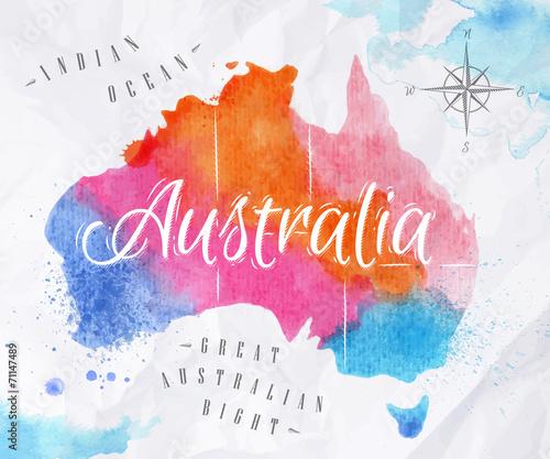 Watercolor map Australia pink blue Wallpaper Mural