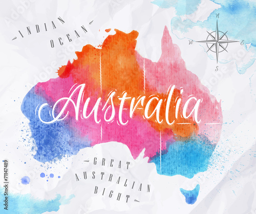 Fotografia  Watercolor map Australia pink blue