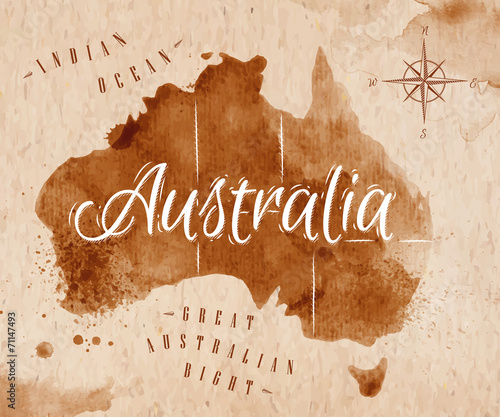 Map Australia retro Wallpaper Mural