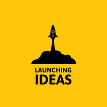 Black Rocket And Cloud, Icon In Flat Style Isolated On Yellow