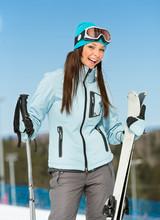 Half-length Portrait Of Female Alpine Skier