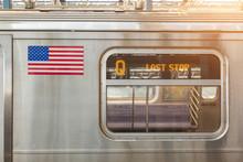 United States Flag On A Subway...