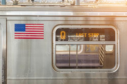 Photo  United States Flag on a Subway Train