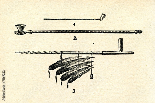 Fényképezés Dutch pipe(1), turkish pipe(2), calumet of indigenous americans