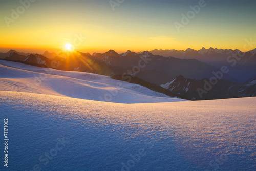 Photo sur Aluminium Jaune de seuffre High mountain during sunrise. Beautiful natural landscape