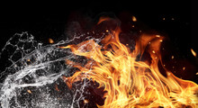 Fire And Water Elements On Bla...