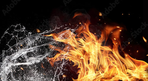 Canvas Prints Fire / Flame Fire and water elements on black background