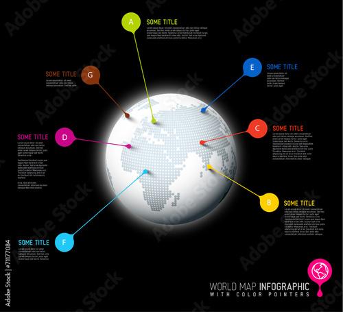 Staande foto Hoogte schaal World map globe with pointer marks