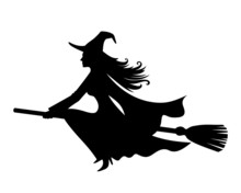 Witch On A Broomstick. Vector ...