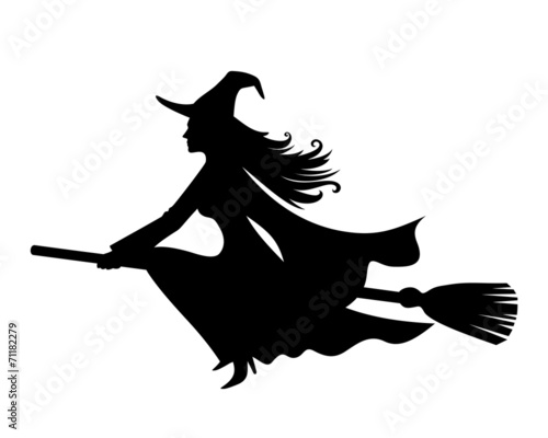 Fototapeta Witch on a broomstick. Vector black silhouette.