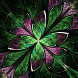 Symmetrical flower pattern in stained-glass window style. Green