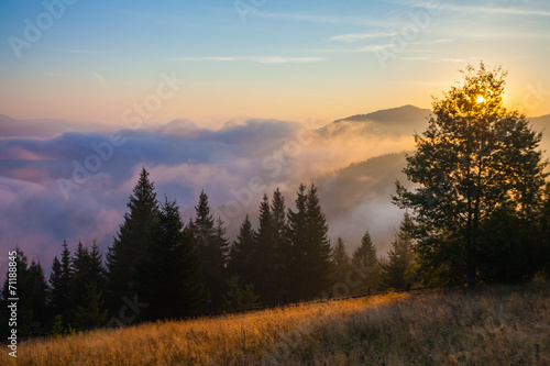 Majestic sunset in the mountains landscape #71188845