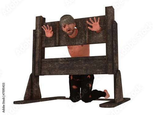 Prisoner in pillory Canvas Print