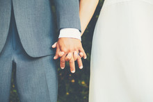 Wedding Couple Holding Hands, ...