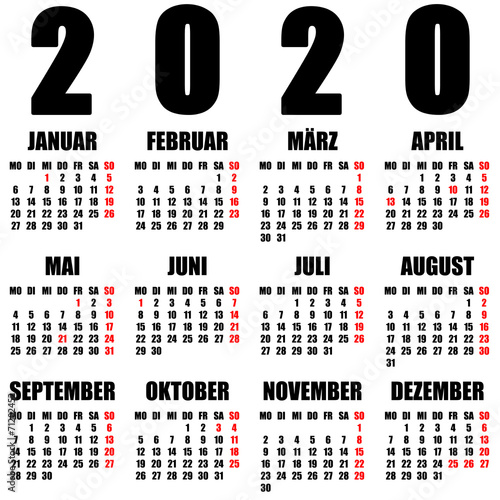Kalender 2020 deutsch   Buy this stock illustration and explore