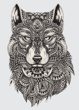 Highly Detailed Abstract Wolf ...