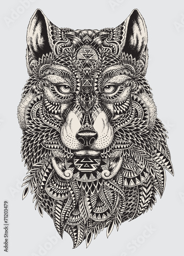 Photo  Highly detailed abstract wolf illustration